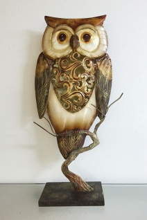 EULE AUS METALL + MUSCHELN 46x23cm Dekofigur Deko Figur Skulptur Muschel Schale