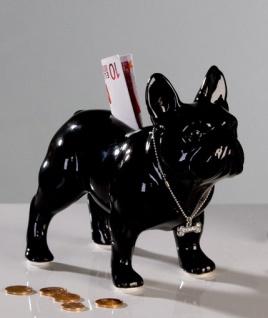 Spardose BULLI stehend schwarz Französische Bulldogge Mops Sparschwein Keramik