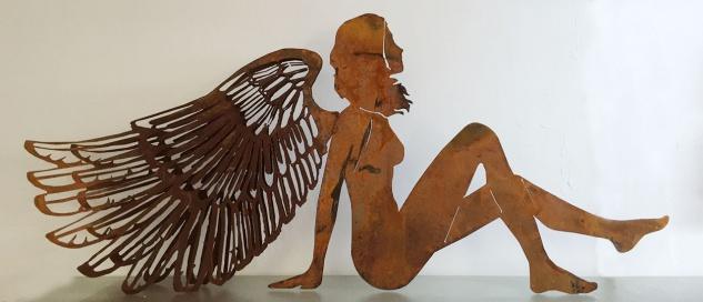 ENGEL sitzend 3D Doppelflügel 125 x 55 cm Edelrost Weihnachtsengel Elfe Advent