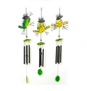 Klangspiel Windspiel FROSCH 84 cm lang Metall Glas bunt 3 verschiedene Motive