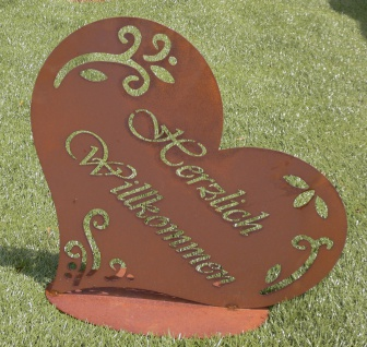 HERZLICH WILLKOMMEN 51x53cm Schild auf Platte Herz Edelrost Rost Gartendeko - Vorschau 3