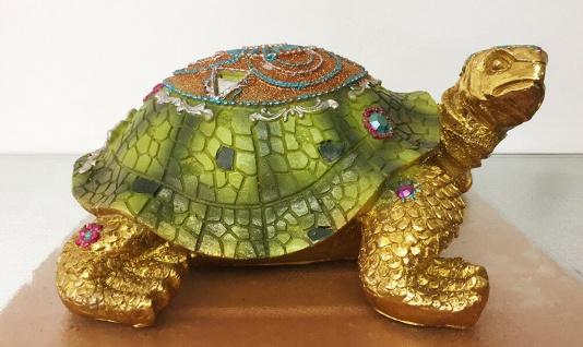 SCHILDKRÖTE INDIA L23cm grün bunt mit Steinen Tier Figur Skulptur Indian Style - Vorschau 2