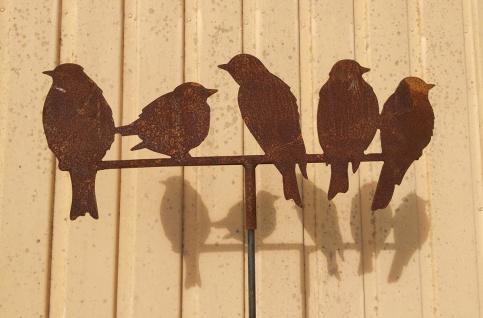 5 Vögel auf der Stange 45x20cm Spatz Vogel Zweig Gartenstecker Edelrost Rost