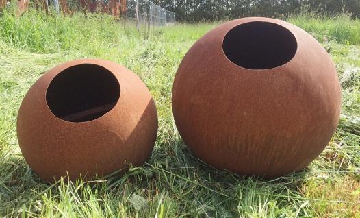 KUGEL zum Beleuchten D40cm Edelrost Rost Vollkugel Rostkugel Ball Metall