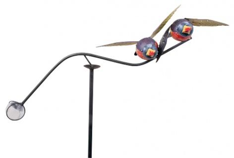 Windspiel Vögel blau bunt Metall 60x120cm Wind Wippe Vogel Pendel Gartenstecker