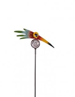 Design Vogel Kopf bunt Metall mit Glas Kugel 25x160cm Gartenstecker witzig
