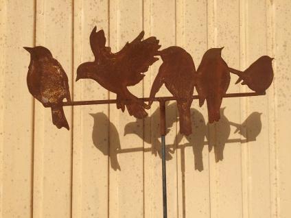 5 Vögel auf der Stange 54x24cm Spatz Vogel Zweig Gartenstecker Edelrost Rost