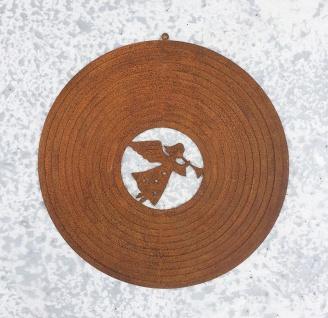 WINDSPIEL ENGEL D18cm Weihnachten Rost Edelrost Figur Rostfigur Spirale Kreis