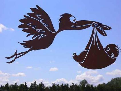STORCH MIT BABY zum Aufhängen Edelrost Rost Rostfigur fliegend Vogel Geburt