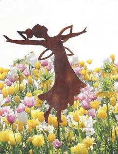 Fee ELFE TANZEND mit Zopf H40cm Rost Edelrost Gartenstecker Metall Figur
