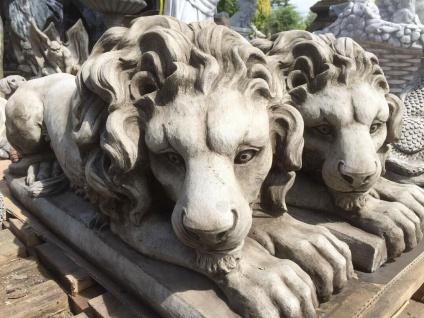 Steinfigur Großer Löwe liegend 75cm lang Steinguss Steinlöwe Leo Raubkatze