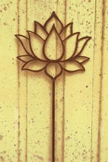 Lotus Blume Blüte 18x20cm + Stab Gartenstecker Edelrost Rost Yoga Seerose Rose