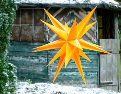 Außenstern GELB XXL 3D Weihnachtsstern 100cm 18 Zacken Leucht Stern 4m Kabel