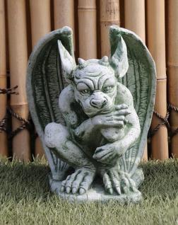 Steinfigur Gargoyle Drache Tor Wächter H41cm Fantasie Steinguss Gartendekoration