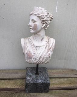Skulptur Frauen Büste 34cm Shabby Poly mit Granit Sockel Frau Kopf Deko Figur