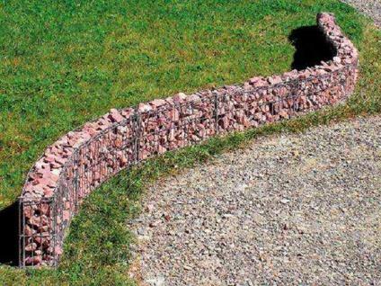 Mauer Gabione L232xH40xT10cm gerade geschwungen Mauergitter Hochbeet Bellissa
