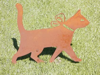 Katze mit Schleife Kater Gartenstecker Rost Edelrost Metall Figur Tiere Katzen