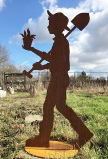 Junger Gärtner Mark mit Schaufel 130cm auf Platte Rostfigur Edelrost Metall Mann