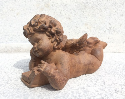 ENGEL MIT BUCH braun 15x26cm Polyresin Figur Skulptur Shabby Edel Rost Optik