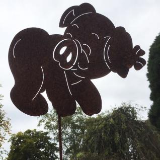 GLÜCKSSCHWEIN LAUFEND Schwein mit Kleeblatt 31x25cm Gartenstecker Rost Edelrost