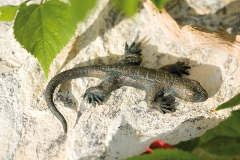 Bronzefigur Eidechse L10cm Rottenecker Bronze Salamander Gecko Echse Dekoration