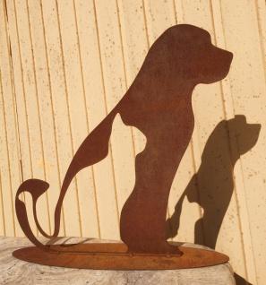 Freunde Hund und Katze 45x45cm Silhouette Rost Edelrost Metall Garten Deko