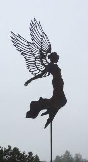 Engel AURELIE große Flügel H55cm + Stab Gartenstecker Rost Edelrost Weihnachten