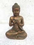 BUDDHA IM LOTUSSITZ H20cm bronze finish Kunstharz Dekoration Figur Skulptur