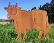 LIEBE KUH 100x78cm zum Stecken Rost Edelrost Rostfigur Gartenstecker Kühe Stier