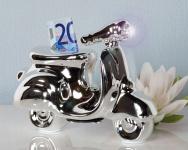 SPARDOSE ROLLER SILBER mit Scheinwerfer Sparschwein Design Porzellan Vespa
