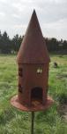 Vogelhaus Futterhaus zum Beleuchten H45cm + Stab Gartenstecker Edelrost Deko