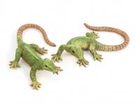 2er Set Eidechse 13cm zum Hängen oder legen Poly wetterfest Salamander Wanddeko