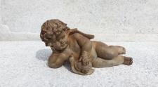 ENGEL MIT SCHNECKE braun 15x27cm Poly Figur Skulptur Weihnachten Dekoration