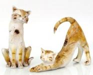 2er Set Katze Flecky H19/15cm bemalt Poly Figur Dekoration Skulptur Kätzchen