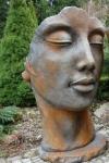 Portrait Gesicht FRAU 115 cm Rosteffekt Skulptur Steinfigur Steinguss Vidroflor