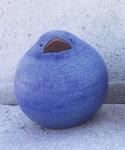 Spatz blau 14 cm Keramik Ton Figur Handarbeit Susanne Boerner Vogel Garten wetterfest