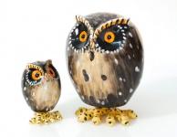WACKEL-EULE 2 Sorten H12cm / H22cm Eule Wackel Figur Keramik handbemalt WITZIG