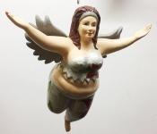 Medusa FAT ANGEL silber grün Glitzer 30cm zum Hängen Engel dick BAUMSCHMUCK