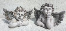 Engel Büste Kopf 2 Sorten Mosaik im Flügel 17x22cm Weihnachten Grabschmuck Poly