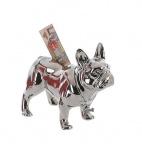 SPARDOSE BULLI stehend silber Französische Bulldogge Mops Sparschwein Keramik