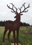 HIRSCH MIT GROSSEM GEWEIH 120x73cm Rost Edelrost Tier Rosthirsch Garten Deko