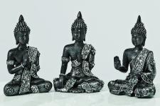 3er Set Buddha schwarz silber 10cm Skulptur Kunstharz Deko Figur Feng Shui