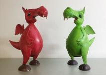 SPARDOSE DRACHE DINO H28cm RED GREEN rot grün Metall handbemalt Dekoration Deko