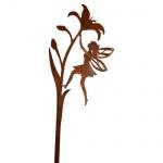 ELFE AUF LILIE KLETTERND 3D 110cm Rost Edelrost Gartenstecker Metall Figur Fee
