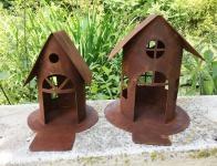 Vogelhaus Edelrost H19cm oder H22cm Windlicht Teelicht Futterstation Rost Deko