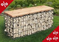 GARTENBANK 100x30x46cm Douglasien Holz Gabionen Bank Sitzbank Gabione Bellissa
