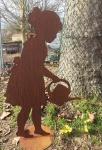 Mädchen Lisa mit Gießkanne 103cm Rost Edelrost Metall Rostfigur Gärtnerin Kanne