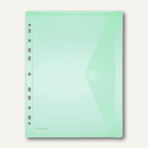 Dokumententasche A4 quer, Abheftstreifen, PP, Klett grün, 100St., 40106-54