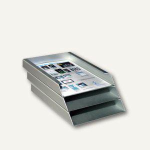 Briefablage DIN A4, aus eloxiertem Aluminium - 305 x 230 x 110 mm, 3er Set - Vorschau