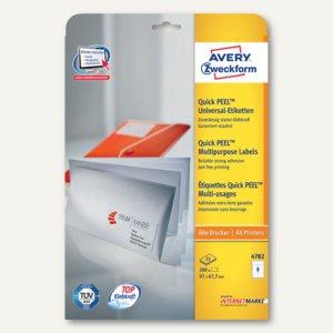 Avery Zweckform Universal-Etiketten, 97 x 67.7 mm, Rand, weiß, 200 Stück, 4782